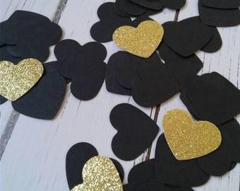 Black wedding confetti, heart confetti, paper confetti, card stock confetti, bridal shower confetti, paper hearts, party decor, confetti.