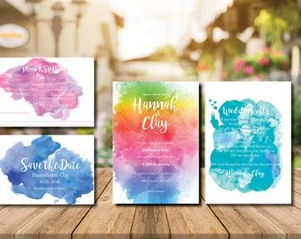 Printable wedding invitation wedding rainbow invitations invitation suite wedding invites wedding invitation set