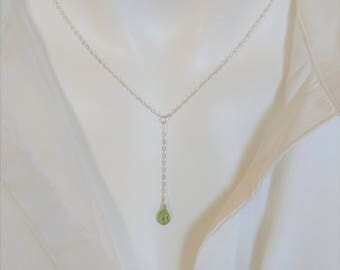 tourmaline lariat necklace your choice of gemstone. / Tourmaline Y necklace / Silver lariat silver Y necklace / gold Y necklace gold lariat