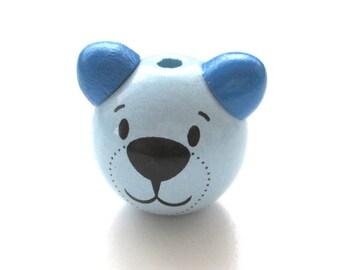 Soft Blue and Royal Blue Teddy bear head 3D wooden bead