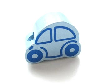 Small car - tender blue wooden bead