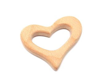 Heart (GM) made of natural raw wood teething toy