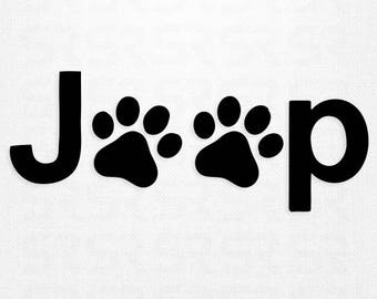 Jeep Paw Print Decal, Jeep Sticker, Jeep Decal, Paw Print Decal, Jeep Wrangler Decal, Jeep Accessories, Dog Decal, Dog Paw Print Decal