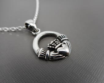 Sterling silver Claddagh Necklace, Celtic  Necklace, Irish Love necklace, Claddagh with red stone necklace,  Gift for her