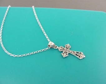 Silver Gothic Cross necklace, Gothic Cross necklace, Sterling silver Cross necklace,  Gothic cross, Sterling silver necklace, Baptism gift
