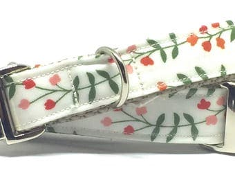 Laminated Cctton, Simple. Floral, White, Dog Collar, High Quality, Pet Accessory, Fabric, Metal Buckle