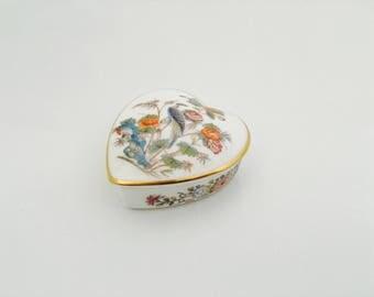 Vintage Wedgwood Kutani Crane Bone China Trinket Box, Heart Shaped Bone China Box with lift off lid