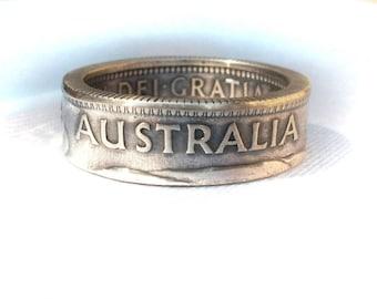 Australia silver coin ring- shilling silver - Australia silver shilling - Souvenir from Australia