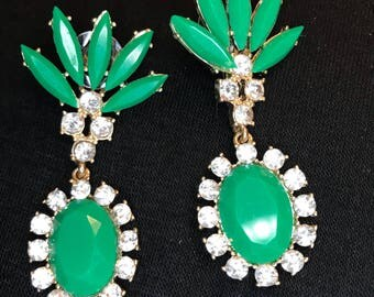 Jade Green Crystal Dangles