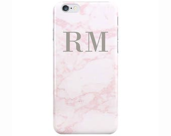 Personalised Name initials Cotton Candy Pink Marble Phone Case Cover for Apple iPhone 5 6 6s 7 8 Plus & Samsung Galaxy Customized Monogram