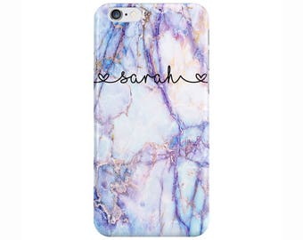Personalised swirl Name Purple Galaxy Marble hearts Phone Case Cover for Apple iPhone 5 6 6s 7 8 Plus & Samsung Galaxy Customized Monogram