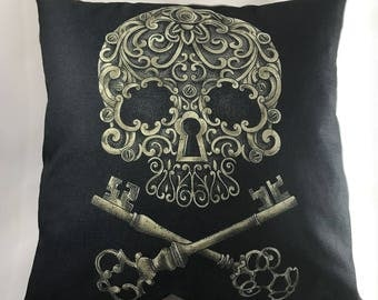 Steampunk Sugar Skull Throw Pillow with Insert & w/Free Shipping