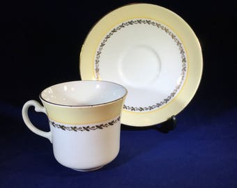Vintage Vanderwood Bone China Tea Cup and Saucer Yellow and white with gold trim