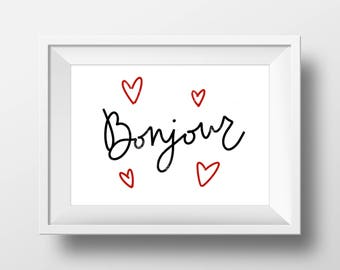 Bonjour Hand-lettered Digital Printable File | 8x10 | 11x14