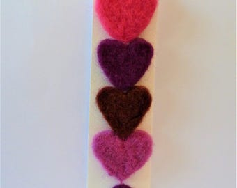 Heart needle felted door hanger, colourful felted decoration, lightweight gift, handmade gift, soft and tactile gift.