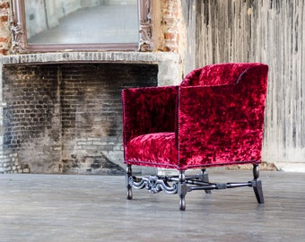 Red Stained Chair - Upcycled