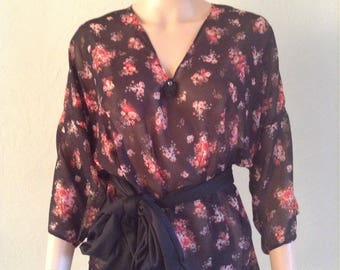 Tunic top black floral retro 38/40/42/44/46/48 fluid and loose