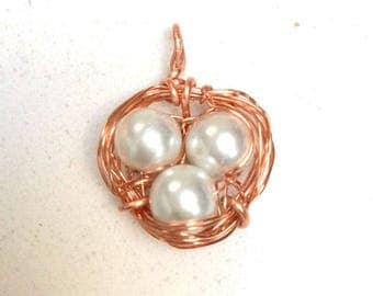 Bird's Nest wire wrapped pendant with glass pearl beads and copper wire