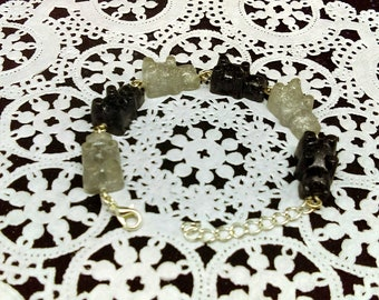Black and silver gummy bear bracelet