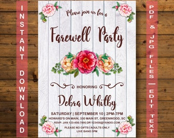 Farewell Party Invitation, Instant Download, RUSTIC Farewell Party Invitation, Farewell Party, RUSTIC Farewell Party, Flower Farewell Party