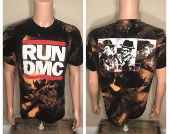 Vintage RUN DMC tour shirt // front and back // adult size // spell out hiphop rap group // rad cool retro // bleached acid washed //