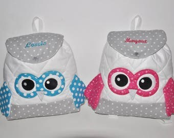 Twins twins brother sister Duo bags bag backpack child embroidered multicolored OWL personalized name