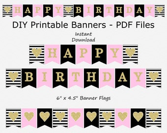 Sale Happy Birthday Banner - Baby Pink & Gold Glitter - Heart - Stripes - DIY Printable - INSTANT Download