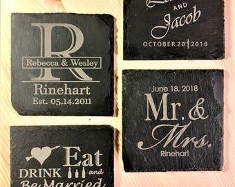4 ct Slate Wedding Coaster Favors