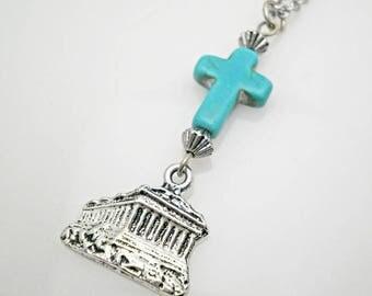 Acropolis charm,Parthenon charm,turquoise cross charm,cross car charm,Rearview Charm,Car Mirror Charm,Greek charm,mirror hanger,new car gift