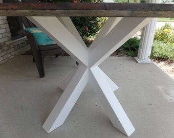 "40"" square kitchen dining table, unique ""floating x"" style legs, Old oak or Chevron top"