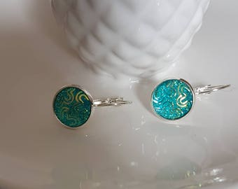 Silver effect french lever back turquoise mermaid inspired earrings