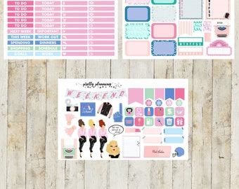 Pink Ladies Mini Weekly Planner Sticker Kit (Pretty Planning Stickers for Erin Condren Life Planner, Happy Planner)