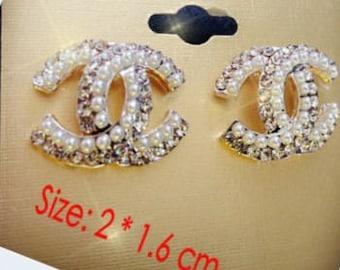 CC inspired Pearl crystal stud Earrings