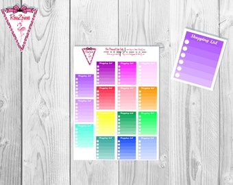 Printable Shopping Lists - Functional Stickers w/Cut Line
