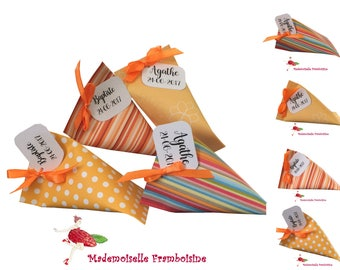 Box dragees, Berlingo bayadere orange and yellow theme, christening, wedding, communion, birthday