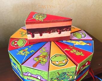 Ninja Turtles Cake Box-Ninja Turtle Favor Slice Box-Ninja Turtles Party-Ninja Turtles Birthday-Ninja Turtle Party Supplies-Ninja Turtle