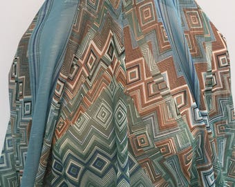 17-285 Turquoise and Rust Scarf Panals- Sold by the Yard