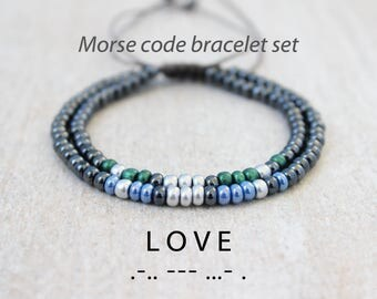 Matching Couples Bracelet Distance Bracelet Long Distance Relationship Couples Gift Set Love Message Bracelet Morse Code Friendship Bracelet