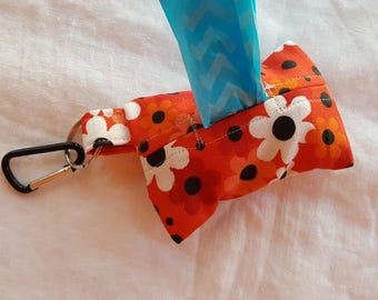 Dog Poop Bag Dispenser - Clip on Style - Orange with Red, Orange, White and Black Flowers