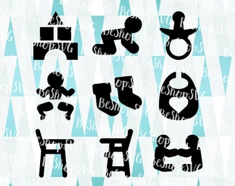 Baby SVG, Baby icons SVG, New born SVG, Nursery Svg, Baby boy Svg, Baby girl Svg, Mother Svg, Instant download, Eps - Dxf - Png - Svg