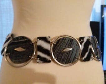 Belt pattern circle of thick faux, denim and metal
