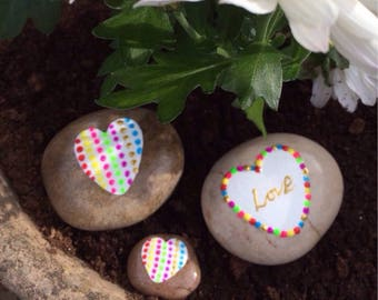 Hand Painted love heart pebbles