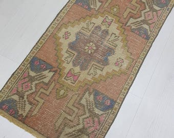 1'5'X3'1' Faded Muted Color Mat Rug Doormat Rug Small Oushak Rug Area Rug Vintage Turkish Rug Pastel Color Rug Small Oushak Rug, Kitchen RUG