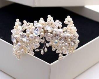 Stunning bridal pearl cuff