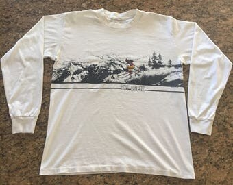 Vintage 80s Ski Aspen Long Sleeve T-Shirt~50/50~USA~Sz L