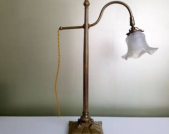 Tulip glass solid brass gooseneck desk lamp