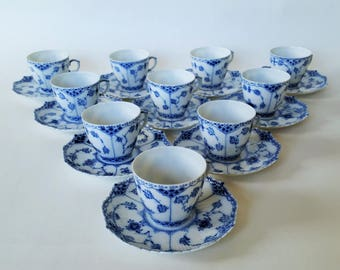 Royal Copenhagen Blue Fluted Full Lace  #1037 Cup with Saucer, 1st quality Danmark Danish Design