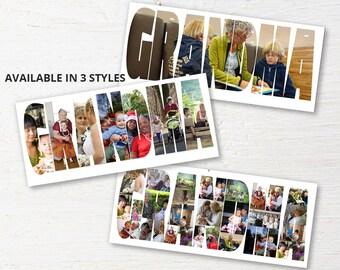 Custom Grandma Photo Collage, Personalized Photo Collage, Custom Collage, Gift For Grandma, Mothers Day Gift, Birthday Present, Digital File