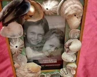Seashell frame, Beach decor, Nautical frame, Coastal decor, Beach wedding gift, Beach picture frame.