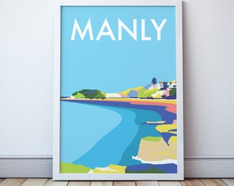 Manly  Vintage Style Seaside  Travel Print/ Poster